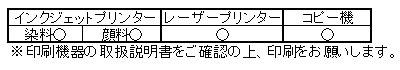 キャンソン ミ・タント 印刷適合表