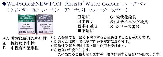 ウィンザー&ニュートン ハーフパン(固形水彩絵具)