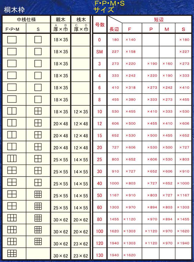 クレサンジャパン 桐木枠 寸法表